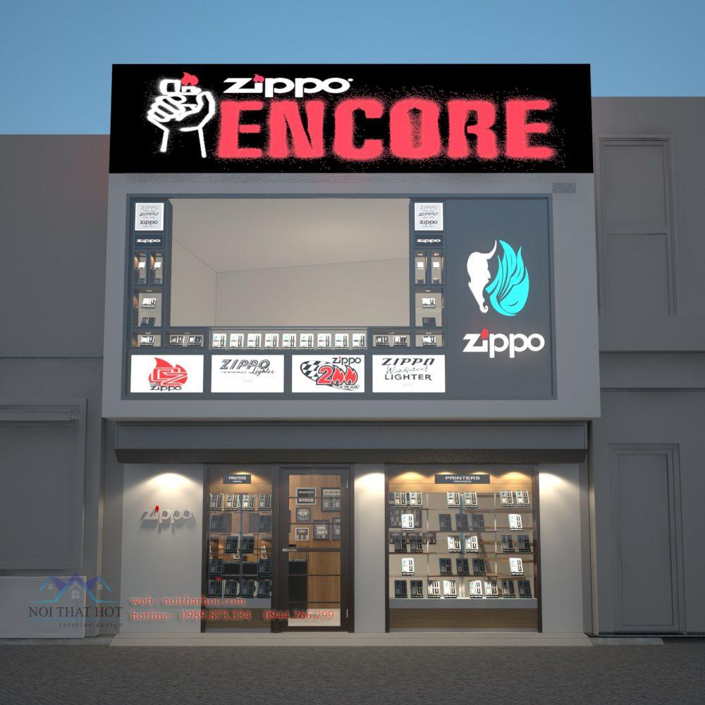 thiết kế cửa hàng Zippo