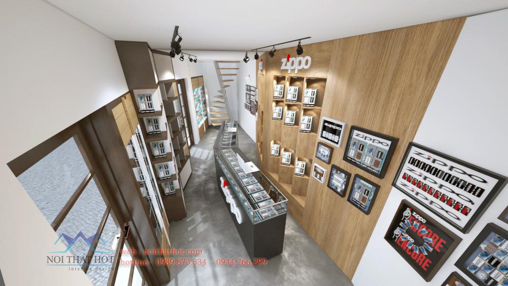 thiết kế cửa hàng bật lửa