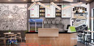 thiết kế quán trà sữa đẹp hiện đại