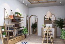 Thiết kế shop giày dép nữ vintage