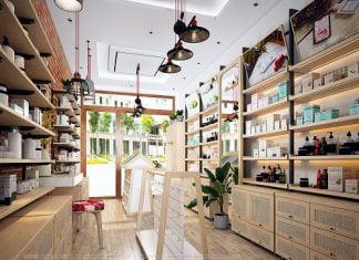 Thiết kế shop mỹ phẩm kết hợp spa