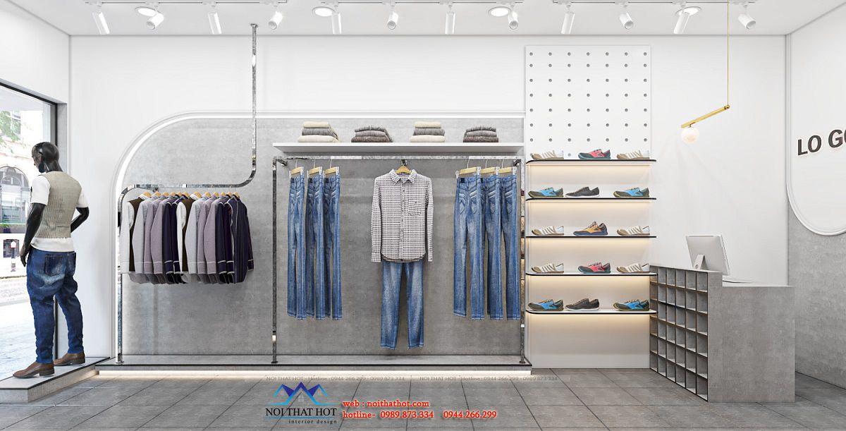thiết kế shop thời trang nam 25m2