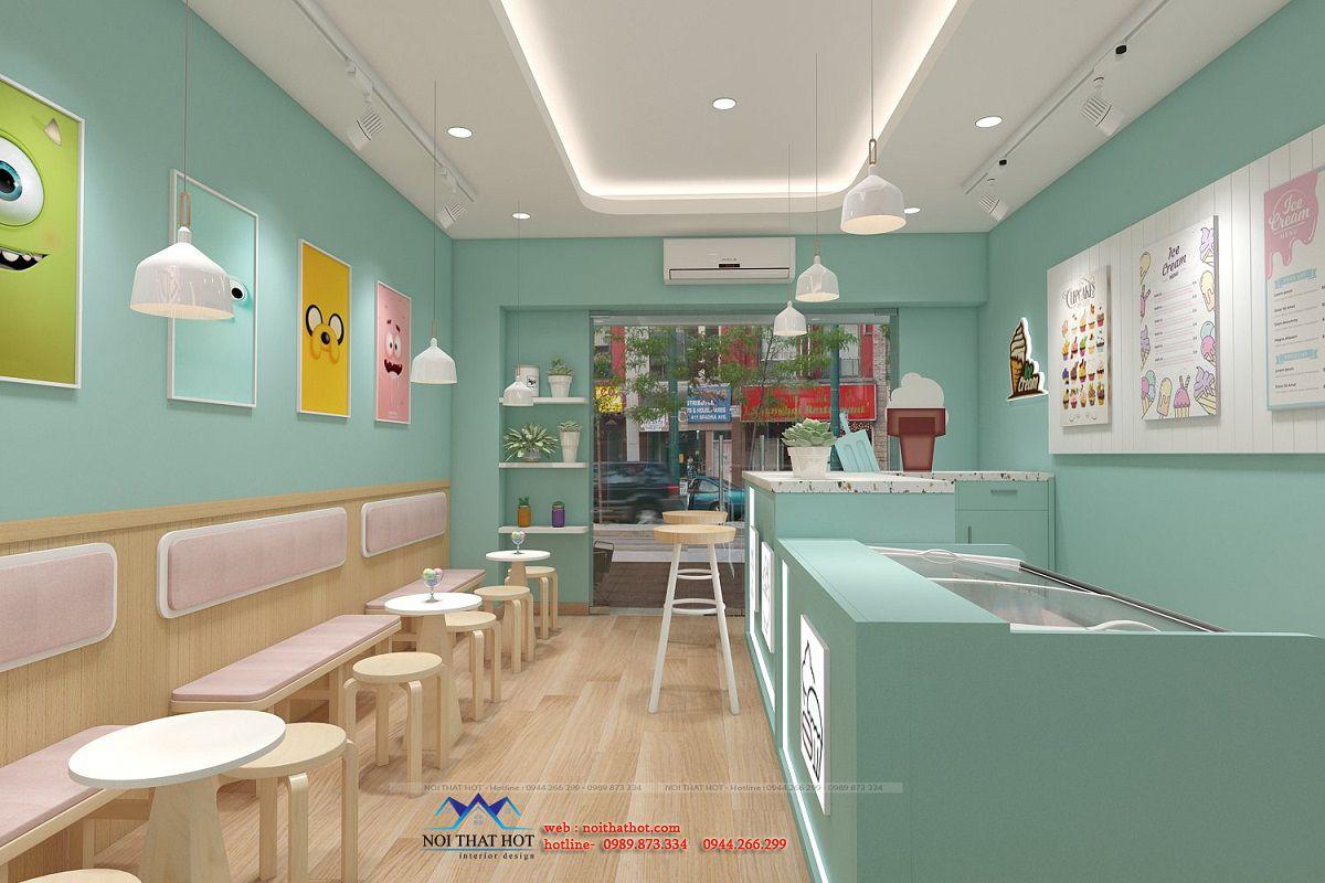 thiết kế cửa hàng kem