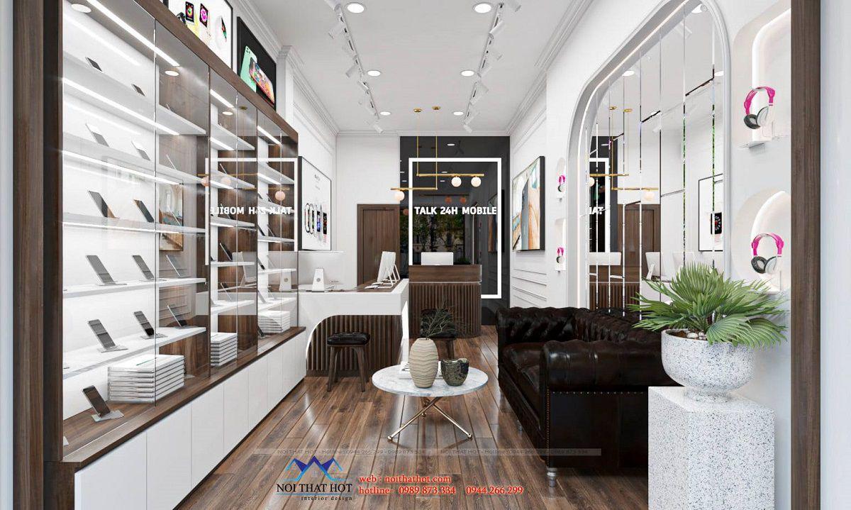 thiết kế shop phụ kiện điện thoại 20m2